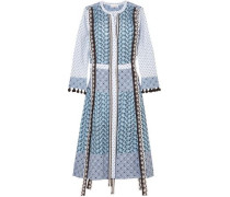 Grenelle Broderie Anglaise And Swiss-dot Cotton Midi Dress Sky Blue