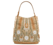 Embellished Woven Raffia Shoulder Bag Sand Size --