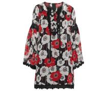 Lace-up guipure lace-trimmed floral-print chiffon dress