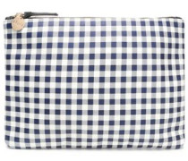 Checked leather clutch