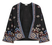 Brianny Embellished Cotton-blend Twill Jacket Midnight Blue