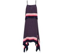 Draped Printed Silk Crepe De Chine Midi Dress Navy