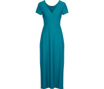 Wrap-effect Stretch-jersey Coverup Teal