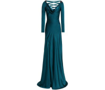 Bead-embellished lace-up satin-crepe gown