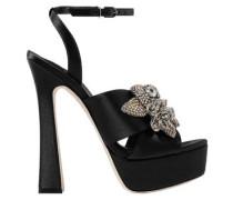 Lilico Crystal-embellished Satin Platform Sandals Black