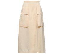 Crinkled-shell Midi Skirt Cream