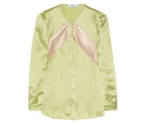 Silk-satin blouse with contrast bands