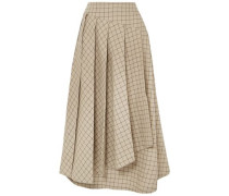 Pleated Checked Cotton Midi Skirt Beige
