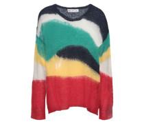 Distressed Crochet-knit Sweater Multicolor