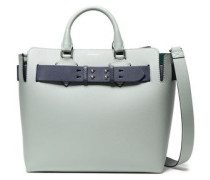 Woman Studded Two-tone Pebbled-leather Tote Grey Green