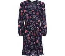 Rosace Gathered Floral-print Silk Crepe De Chine Dress Navy