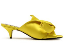 Knotted Satin Mules Yellow