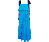 Satin-trimmed ruffled crepe midi dress