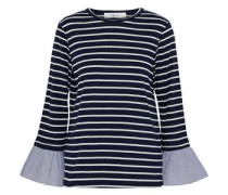 Fluted striped cotton-blend jersey top