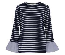 Poplin-trimmed striped cotton-blend jersey top
