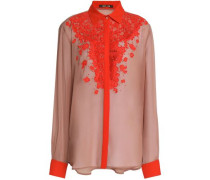 Lace-paneled silk crepe de chine shirt