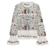 Fally Embroidered Cotton-voile And Point D'esprit Blouse Ivory