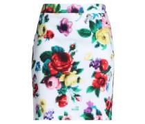 Printed Stretch-cotton Mini Skirt White