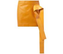 Woman Draped Leather Mini Skirt Marigold