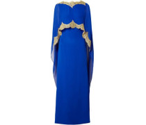Cape-effect Embellished Lace-trimmed Silk-chiffon Gown Bright Blue