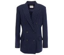 Woman Pinstriped Linen-blend Blazer Navy