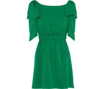Allie bow-embellished silk-blend mini dress