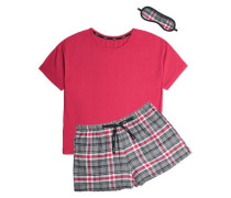 Cotton-blend jersey and checked flannel pajama set