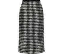 Safia Metallic Houndstooth Cotton-blend Tweed Pencil Skirt Black Size 14