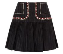Jessie Embroidered Pinstriped Linen Mini Skirt Midnight Blue