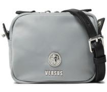 Leather-trimmed Shell Shoulder Bag Light Gray Size --