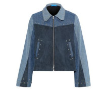 Folken Suede-paneled Color-block Studded Denim Jacket Mid Denim