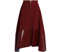 Oriana faux patent leather-paneled crepe midi skirt