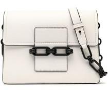 Chain-trimmed leather shoulder bag