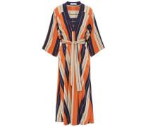 Striped Twill Midi Dress Orange