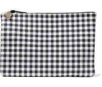Gingham leather pouch