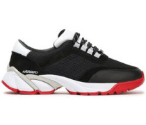 Woman Color-block Leather, Suede And Mesh Sneakers Black