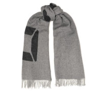 Fringe-trimmed Wool-jacquard Scarf Dark Gray Size --