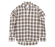 Ruffled checked flannel shirt
