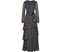 Tiered Satin-trimmed Printed Chiffon Gown Indigo