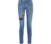 Printed high-rise skinny jeans