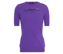 Embellished Cutout Knitted Top Violet
