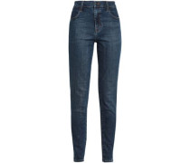 Faded High-rise Skinny Jeans Mid Denim  3