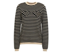Metallic Striped Intarsia Wool-blend Sweater Black