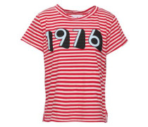 Printed Striped Cotton-jersey T-shirt Red Size 0