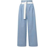 Wool Woven Wide-leg Pants Light Blue