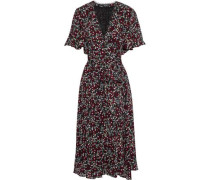 Mini Daisy Belted Floral-print Silk Midi Dress Burgundy Size 0