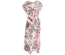 Adelia Ruffled Floral-print Woven Wrap Dress Baby Pink