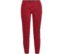 Leopard-print Mid-rise Skinny Jeans Crimson  4