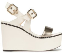 Alton Studded Metallic And Smooth Leather Platform Wedge Sandals Ivory