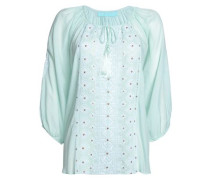 Tali tasseled embroidered voile top